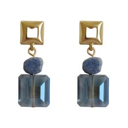 Tempérament simple japonais et coréen Femmes rafraîchissante été cristal géométrie carré encre froide bleu oreille ongles savoir femmes boucles d'oreilles ? partir de fabricateur