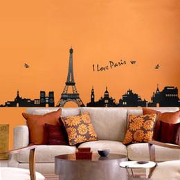 Papier peint tour eiffel en Ligne-Tour Eiffel Stickers Muraux Décoratifs Enfants Chambre Salon Art Decal Amovible Papier Peint Mural Autocollant pour Chambre Filles Adhésif