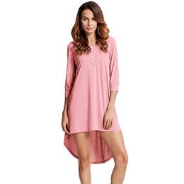 Botón delantero de manga larga vestidos online-5XL Plus Size T-shirt Dress Spring Fashion Women Basic Long Tshirt Top Button Front O Neck Long Sleeve Irregular Hem Mini vestido