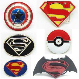 capitán de américa de la media Rebajas 10 estilos New Western Pok Ball Batman Superhero Capitán América Escudo Hebilla de cinturón de metal clásico para hombre