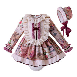 a0da2178e37 Pettigirl Lace Baby Girls Princess Clothing Set Flroal Clothing Set With PP- pants Bonnet Spanish Child Costumes G-DMCS106-B327