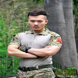 Printemps Automne Europe Russie Hommes Actif Armée Uniforme TShirt Entraînement Militaire Camping Randonnée Vert Gris Camo T-shirt À Manches Courtes Poche ? partir de fabricateur