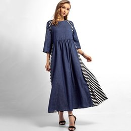 women denim maxi dress Promo Codes - Vintage Women Muslim Dresses Long Robe Contrast Color Denim Striped splicing O Neck Half Sleeve Middle East Maxi Dress G12447BL-M