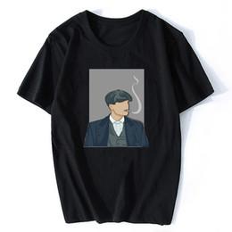 Fumare il tè nero online-Peaky Paraocchi nuovi uomini di arrivo fumatori T-shirt manica corta o-collo casuale Tee Hipster fredda Tops Uomini nero divertente magliette
