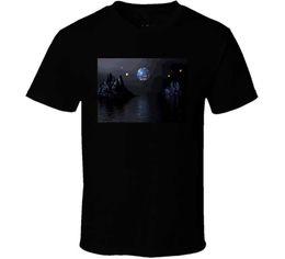 Camiseta 2018 New Short Cool Art Pictures Moon Water Diseño gráfico Hombres O-cuello de manga corta Camisetas desde fabricantes
