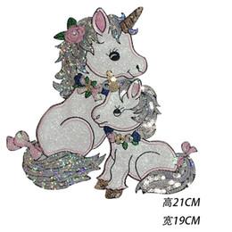 Nuovi accessori di abbigliamento di moda, panno multicolore incollato con paillettes stile unicorno, accessori femminili e accessori per l'abbigliamento per bambini. da nastro grigio satinato fornitori