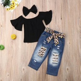 girl jeans top Promo Codes - 3PCS Toddler Kids Baby Girl Crop Tops T-Shirt+Bandage Jeans Pants Outfits Summer