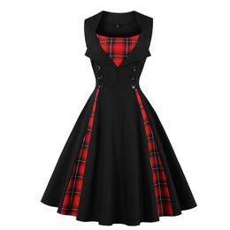 Тартановые платья онлайн-S-5XL женщины размер большой тартан платье летние туники старинные рукавов красный плед печати кнопка рокабилли партия sexy Pin Up dress