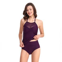 Trajes de banho elegantes on-line-Duas peças maiô elegante moda cor sólida swimsuit feminino pendurado no pescoço divisão swimwear 6 cores frete grátis