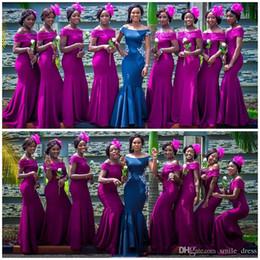 Argentina Fuchsia fuera del hombro sirena vestidos largos de dama de honor longitud del piso de satén por encargo del banquete de boda invitados vestidos de dama de honor SB071 baratos Suministro