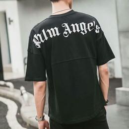 черная белая одежда для хип-хопа Скидка 2018SS Palm Angels Письмо печати Мужчины Женщины футболка хип-хоп Palm Angels одежда мода плеча топ Tee черный белый S-XXL