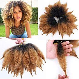 Extensiones de cabello marley online-Ombre Negro Marrón Afro Kinky Marley Trenzas Extensiones de cabello Kanekalon Synthetic Twist Crochet Trenzado Cabello para mujeres (8 pulgadas, 1b / 27)