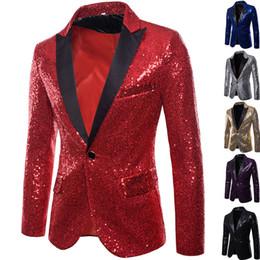 xl vestidos de clube de ouro Desconto Mens ternos designer de moda vestido ocidental blazers de lantejoulas de ouro dos homens slim Club emcee jaqueta de estúdio XZ28