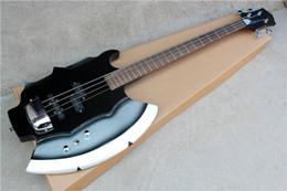 Guitares insolites en Ligne-Livraison gratuiteFactory 4 cordes hache inhabituelle guitare électrique basse avec touche en palissandre, matériels de Chrome, couverture de pont, offre personnalisée