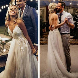 50c00eb5a3ff muslim wedding dress free shipping Coupons - Boho Wedding Dress 2019  Appliqued with Flowers Tulle A
