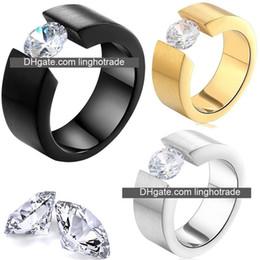 dimond hochzeit ringe Rabatt Modeschmuck Klassische Männer Ring edelstahl großen diamanten Designer Ringe Rock 316L Titan stahl Luxus Ringe Trendy männlichen ring
