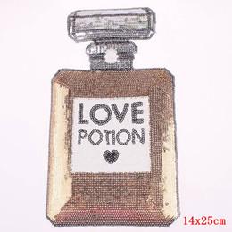appliques paillettes de fer Promotion Grand fer de bouteille de parfum de pièce jointe de patch de paillettes pour des accessoires de couture de tissu autocollants de broderie