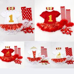 Arcos pés de bebê on-line-Meninas do bebê Romper Vestido Crianças Designer 8 Cor Tema Do Natal Roupas Meninas Bow-Tie Listrado Macacão Tampa Do Pé Headband Sapatos 06