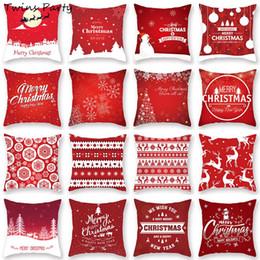 Carro rosa plush on-line-Twins 45 * 45 centímetros Red Feliz Natal de Papai Noel Capa de Almofada Decoração Car Home sofá fronha de almofada decorativa Plush fronha