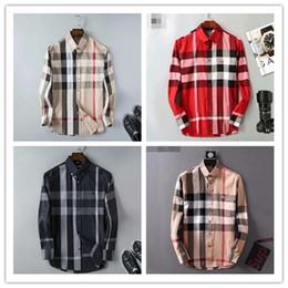 camisa verificada nova Desconto Negócio de marca dos homens camisa Ocasional dos homens de manga longa listrada slim fit camisa masculina social do sexo masculino T-shirt nova moda homem verificado camisa O21