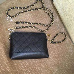 Casi di moda online-Classico borsa a caviale trapuntata a catena piccola custodia a spalla 2 catene moda borsa PU modello a caldo custodia a mano (Anita)