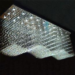 lustre de pingos de cristal Desconto Lustre de cristal Lustre retângulo Contemporânea Flush Teto Luminária de Luz Pendurado Lustres para sala de jantar / Lobby / cozinha ilha