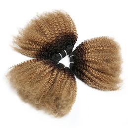 Fasci peruviani afro crespi ricci ombre fasci di capelli umani T1b 4 27 tre toni 3 fasci estensioni di trama radice scura marrone miele biondo cheap honey brown curly hair da marrone miele capelli ricci fornitori