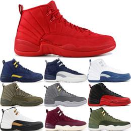 Zapatos de skate de invierno online-12 12s Invierno Black Bull Gym Red Master Hombres Zapatillas de baloncesto Taxi Flu Juego Lana francés azul Vachetta Tan zapatillas de deporte EE.UU. 8-13