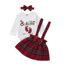 Tops de lantejoulas para o natal on-line-Meninas do Natal Roupa Set carta pegada romper top + paetês curva da manta suspender saia de treliça headbands 3pcs / set crianças roupas M771