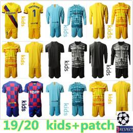 2019 2020 Gioventù Lungo Ter Stegen portiere maglie bambini Kit Calcio Imposta Pantaloncini Uniformi Marc-Andre ter Stegen Kid Boy Maglia Portiere Bambino da