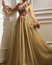 elie saab prom dresses new Promo Codes - Gold Tule A Line Long Sleeve Elie Saab Evening Dresses Long Muslim Gowns 2019 New Arabic Sexy Prom Dresses For Birthday E020