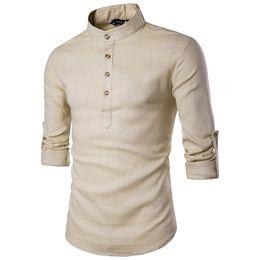 chemises en lin pour hommes Promotion Chemise en coton à manches longues pour hommes Chemise habillée à manches longues pour hommes