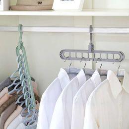 гардеробные вешалки для органайзеров Скидка Space Saver Плечики Девять отверстие вращающейся магии вешалка многофункциональный складной пластиковые вешалки шкаф для сушки одежды вешалки Шкаф Организатор