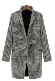 2020 casaco xadrez em lã mais tamanho 2019 Mulher Outono Plus Size S-4xl Plaid casaco de lã Mistura Grey Tweed manga comprida único botão Wool Overcoat Trench Jacket desconto casaco xadrez em lã mais tamanho