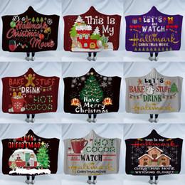 kapuzen kap kinder Rabatt Weihnachten Sherpa Hooded Thorw Decke 150 * 130 cm 3D gedruckt Kinder Winter Plüsch Weihnachten Kinder Mantel Cape Schal Sofa werfen Fleece Wrap LJJA2960