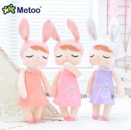 """materiais montessori atacado Desconto Bonecas da menina do bebê de pelúcia coelho brinquedos de pelúcia abraço bonecas presentes de páscoa para meninas crianças 33 cm 13 """"+ saco de presente"""