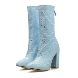 2019 женщины 11 см высокие каблуки сапоги фетиш блеск синий серебряный блок каблуки середины икры сапоги коренастый Осень Зима блестки обувь cheap glitter mid heel shoes от Поставщики блестящие ботинки на каблуках