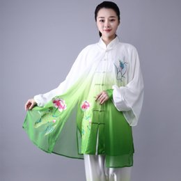 chinesische tai chi-anzüge Rabatt Mode Tai Chi Uniform Frauen Männer Kampfkunst Uniform Chinesische Traditionelle Folk Langarm Kung Fu Anzug Morgen Sportbekleidung