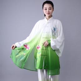 chinese tai chi ternos Desconto Moda Tai Chi Uniforme Mulheres Homens Artes Marciais Uniforme Chinês Tradicional Folk Manga Longa Kung Fu Terno Manhã Sportswear