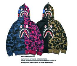 Bape à capuche pour en Ligne-XXSBAPE Vêtements Pour Hommes Veste À Capuche Veste Camouflage Rouge Requin Imprimé Hommes Mode Coton À Capuche Sportswear Intérieur En Molleton À Capuche Sweat-shirt Manteau