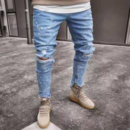 männer s eng anliegende hose Rabatt Schneeflocke Jeans Herren Distressed Zerrissene Jeans Loose Fit Denim-Hose Enge Hose Denim-Hose Torn Denim Casual Mann Hip Hop Jeans