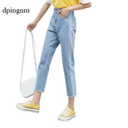 2020 jeans coreanos de talle alto Vintage Ladies Boyfriend Jeans para mujeres Mom High Waisted Jeans Blue Casual Lápiz Pantalones Korean Streetwear Denim Pants Y19072301 jeans coreanos de talle alto baratos