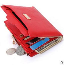 Дешевый женский кошелек онлайн-Новый стиль женщины красный PU кошельки творческие короткие молнии кошелек дешевые милые девушки леди портативный многофункциональный кошельки держатели карт