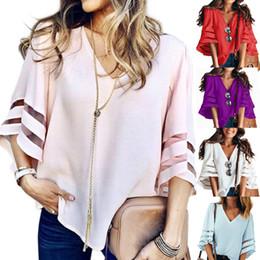 плюс размер органзы tops Скидка 12 Цвет S-5XL Плюс Размер Женщины расклешенные рукава Свободные футболки Модные женские летние повседневные блузки Топы Рубашка V-образным вырезом сплошной цвет топ