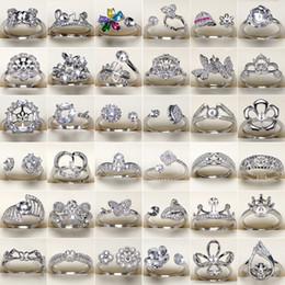 2019 frauen s geschenke DIY Perle Ring Einstellungen 925 Silber Ringe 45 Stile Zirkon Ring für Frauen Mädchen Ring Edlen Schmuck Einstellbare Valentinstag Geschenk günstig frauen s geschenke