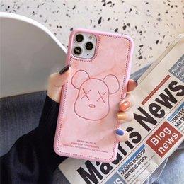 2020 casse del telefono per orso di iphone cassa del telefono di un pezzo di lusso Impressum iPhone 7 8P XR 11PROMAX modo del fumetto Orso con la copertura di caso del telefono di marmo Designer casse del telefono per orso di iphone economici