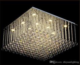 Candelabros de cristal flush rain drop online-Lámpara de araña cuadrada contemporánea K9 Crystal Rain drop Luxury Flush Mount LED Crystal Light Lustres De Cristal para sala de estar