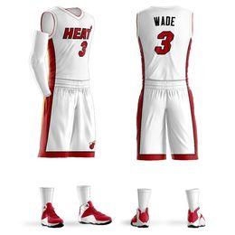 Jeux de Jersey de basket-ball personnalisé 2018 hommes Ensembles Dwyane Wade Jersey Violet Basketball Shirt Personnalisé Conception En Gros ? partir de fabricateur
