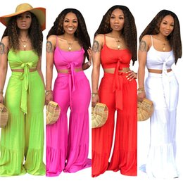 ice belts Promo Codes - Wide leg trousers suits Summer beachwear fashion condole belt suit 2 piece set hot selling crop out suit beach park women clothing klw0994