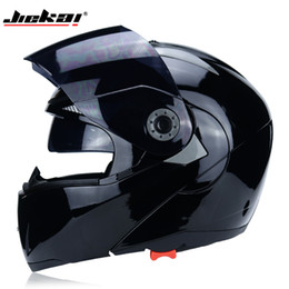 double flip motorcycle helmet Coupons - The latest JIEKAI motorcycle helmet safety double sunshade DOT flip helmet casque moto racing 4 season motorcycle MOTO